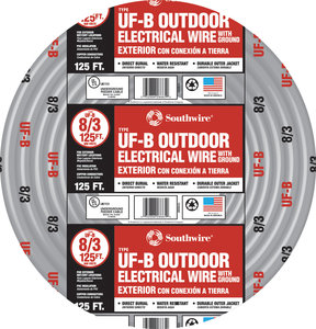 125\' 8/3 UF (Underground) Cable With Ground (Priced per Ft)   Fastenal